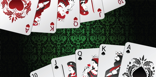 Vector background. Royal flush in spades and hearts on damask pattern.