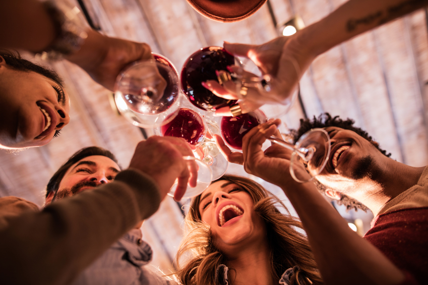 Below view of group of friends toasting with wine.