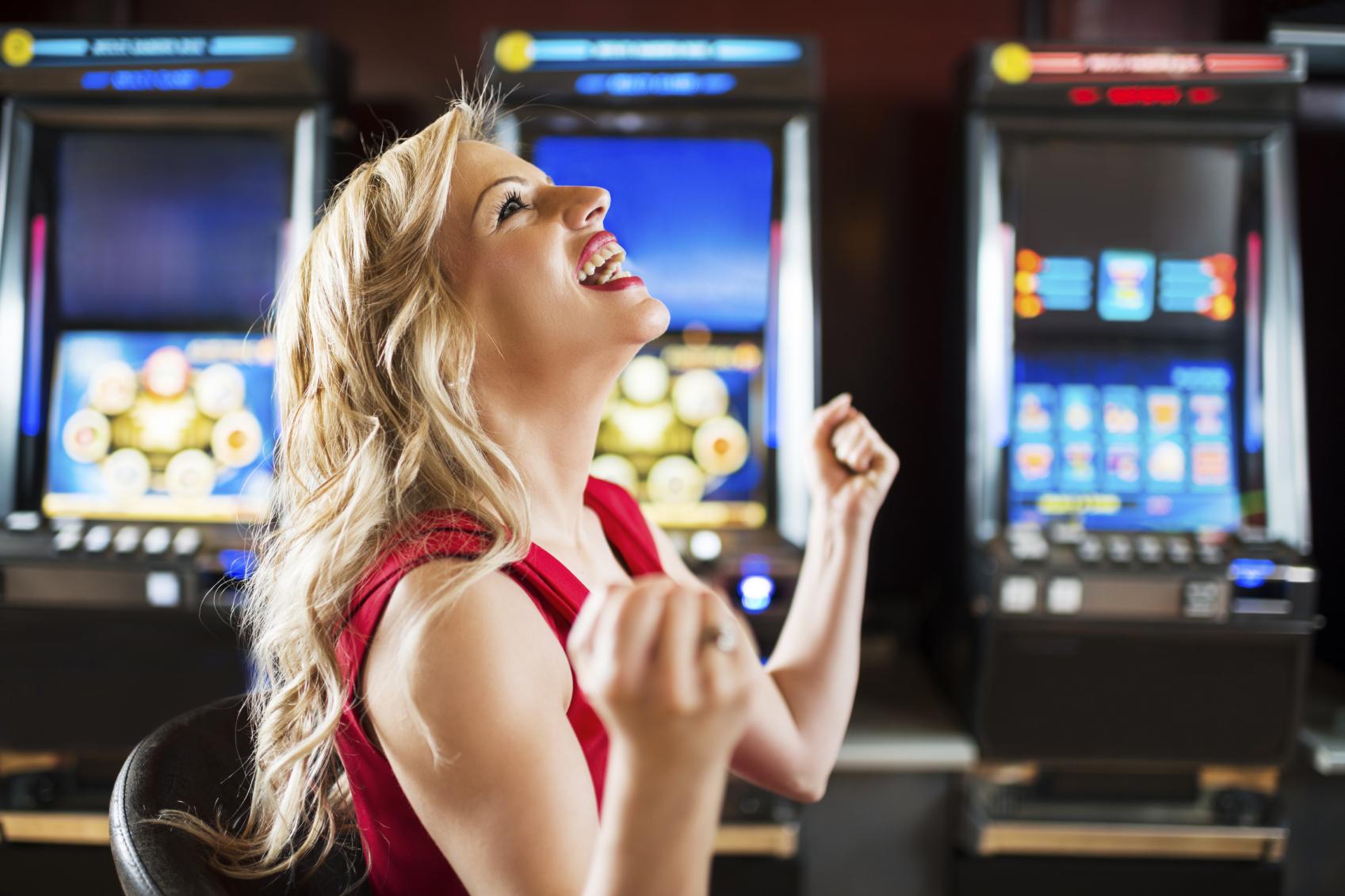 Happy woman in a casino.